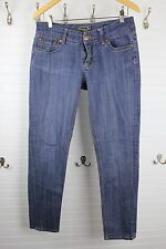 7FAM Seven For All Mankind 32 x 29 Skinny Jeans Distress Dark Wash Broken Zipper