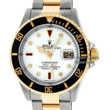 Rolex Mens Submariner Date Watch 16613 SS & 18K Yellow Gold White Diamond Dial