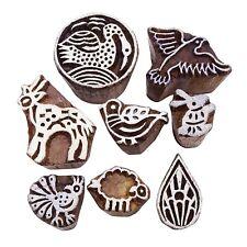 Lot Of 8 Pcs Wooden Hand Carved Textile Stamp Printing Block Brown Block Print