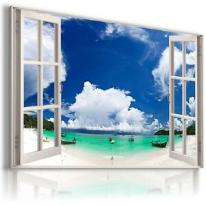 BEACH IN THAILAND BOAT SEA 3D Window View Canvas Wall Art Picture W351 MATAGA