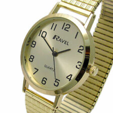 Gents Easy Read Watch with Gold Expanding Bracelet By Ravel R0201.11.1s