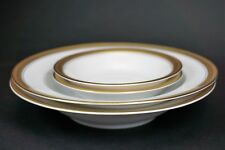 Rosenthal Porcelain White & Gold Band Two Soup Bowls and Two Berry Bowls 5169