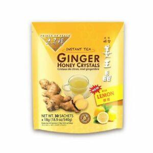 Prince of Peace Ginger Honey Crystals Instant Beverage Lemon 30 pckts (4 Packs)