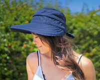Womens Wide Large Brim Summer Beach Sun Straw Canvas Hat Visor Removable Cap