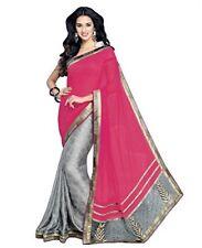 Designer Saree Women's Pink & Gray Jacquard Patch Sari with Blouse - Free Size