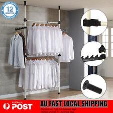 Heavy Duty Movable Garment Rack DIY Coat Hanger Clothes Wardrobe 2 Poles 2 Bars