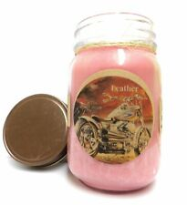 Leather 16oz Country Jar Handmade Soy All Natural Soy Candle Approximate Burn Ti