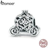 Bamoer .925 Sterling Silver charm & CZ Pumpkin Carriage Fit Bracelet Jewelry