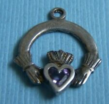 sterling charm Vintage claddagh Irish
