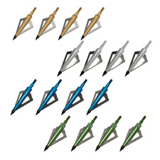 12x Archery Arrowhead Broadheads 3 Blade 125 Grain Shooting Hunting Tips Points
