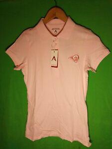Antigua NFL St Louis Rams Football Womens SS Polo Shirt Small Pink NWT