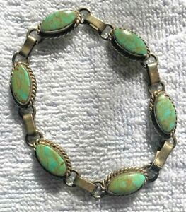 TURQUOISE (UNTREATED) AND STERLING SILVER  LINK BRACELET