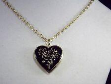Corazón de color negro de calidad venetti Con Medallón Collar De Color Rosa De Oro