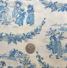 "Blue Toile Cotton Fabric Ivory Background By the Yard 45"" Wide NEW"