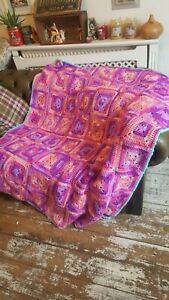 Handmade Retro Vintage Style Crocheted Granny Blanket kitsch