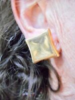 Authentic Vintage 1980's Square Gold Tone Clip Earrings