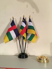 CENTRAL AFRICAN REPUBLIC TABLE FLAG SET of 3 flags and base