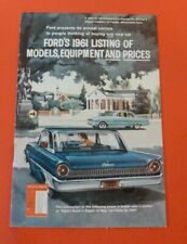 1961 Fords Models Equipment And Prices Orginal Vintage Advertising Brochure