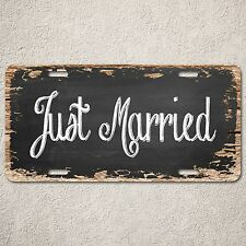 LP0284 Just Married Wood Vintage Auto Car License Plate Home Wedding Decor Sign