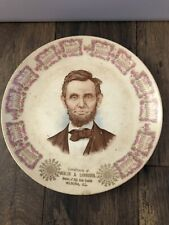 Antique Advertising 1911 Calendar Plate Abraham Lincoln Uebler Grocery Wenona IL