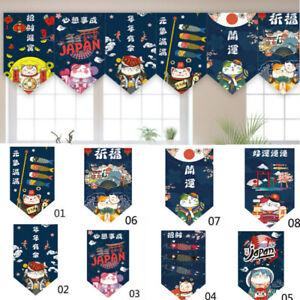 3D Lucky Cat Japanese Noren Short Curtain Doorway Valance Hanging Flag Art Decor