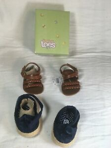 Two Pairs Teeny Toes Baby Girl Blue Flower and Brown Strappy Sandals Size 1W BOX