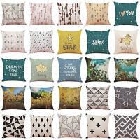 39 Patterns Linen Pillow Case Sofa Waist Throw Cushion Cover Home Office Decor
