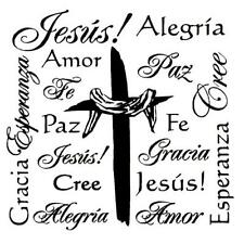 Resurrection Cross Collage Spanish unmounted rubber stamp, religious Easter  #21