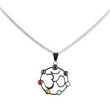Natural Stone OM Symbol Chakra Adjustable Necklace