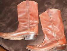 Cowboy boots leather mens brown size 9 M pointed toe Ruff Hewn boot Solid shoes