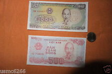 (2 NOTES)1000 DONG&500 VIETNAM UNCIRCULATED FRESH IMPORT BANK OF VIET NAM