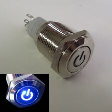 16mm 12V BLUE Led Lighted Push Button Metal ON-OFF Switch for Car Boats DIY