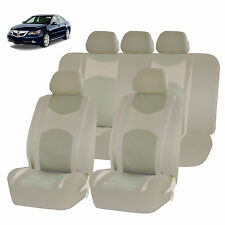 ALL BEIGE HONEYCOMB MESH AIRBAG READY SPLIT BENCH SEAT COVERS SET FOR CARS 1244