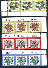 Berlin_1974 Mi.Nr. 473-476 Wohlfahrt Blumensträusse 3er Streifen m Bogenrand