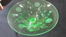 VINTAGE FLORAL ETCHED GREEN VASELINE DEPRESSION GLASS COMPOTE