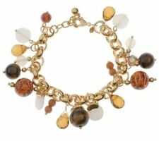 Joan Rivers Tiger's-eye and Opalescent Bead Charm Bracelet
