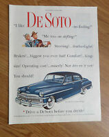 Advertising-print Able Original Print Ad 1950 De Soto 4 Door Looking For A Bargain Drive Before Decide