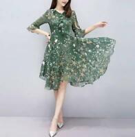 Summer Women Ladies Elegant Slim Chiffon Floral V Neck Ruffle Sleeve Midi Dress