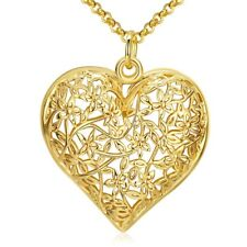 "18K Yellow Gold Filled Women Heart Pendant Fashion Necklace Hot 18"" Link New"