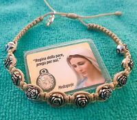 Catholic Prayer Bracelet Handmade With Our Lady Medal And Roses Beads