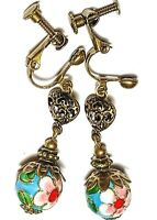 Long Bronze Clip-On Earrings Turquoise Cloisonne Vintage Antique Style Artisan