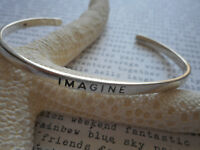 Sterling Silver 925 Inspirational  IMAGINE Cuff Bracelet  686E