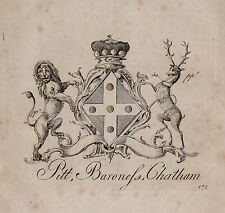 1779 ANTIQUE PRINT ~ Pitt ~ Family Crest Armoiries de la baronne CHATHAM