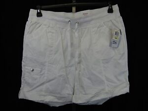 Style & Co Plus Size Roll-Cuff Cargo Poplin Shorts 24W Bright White #4428