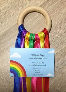 1 x Sensory Ribbon Rainbow Natural 7cm Beech Wood Ring SEN Ring Baby Girl Boy