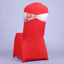 10 Spandex Heart Chair Cover Sashes Bow Band For Banquet Wedding Reception Party