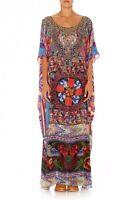new CAMILLA FRANKS SILK SWAROVSKI TAPESTRY OF TIME ROUND NECK KAFTAN DRESS
