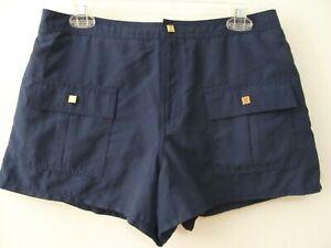 Liz Claiborne Sz 10 Navy Blue Gold Hardware Athletic Casual Lightweight Shorts