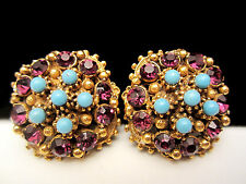 """Rare Vintage 1"""" Signed Florenza Goldtone Jeweled Clip On Earrings A40"""