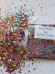 Nail Art Mixed Glitter ( Rockstar  ) 10g Bag Holographic Chunky Rainbow